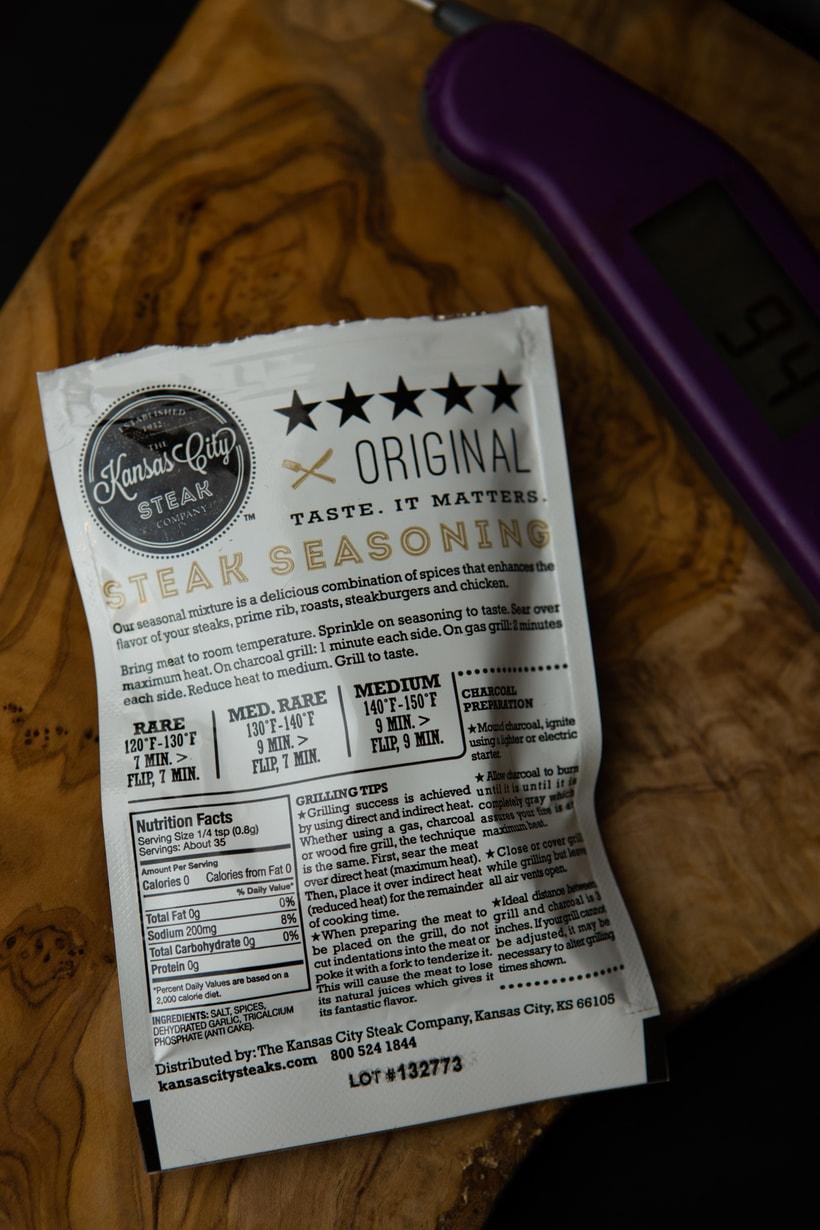 The Kansas City Steak Company seasoning packet instruction