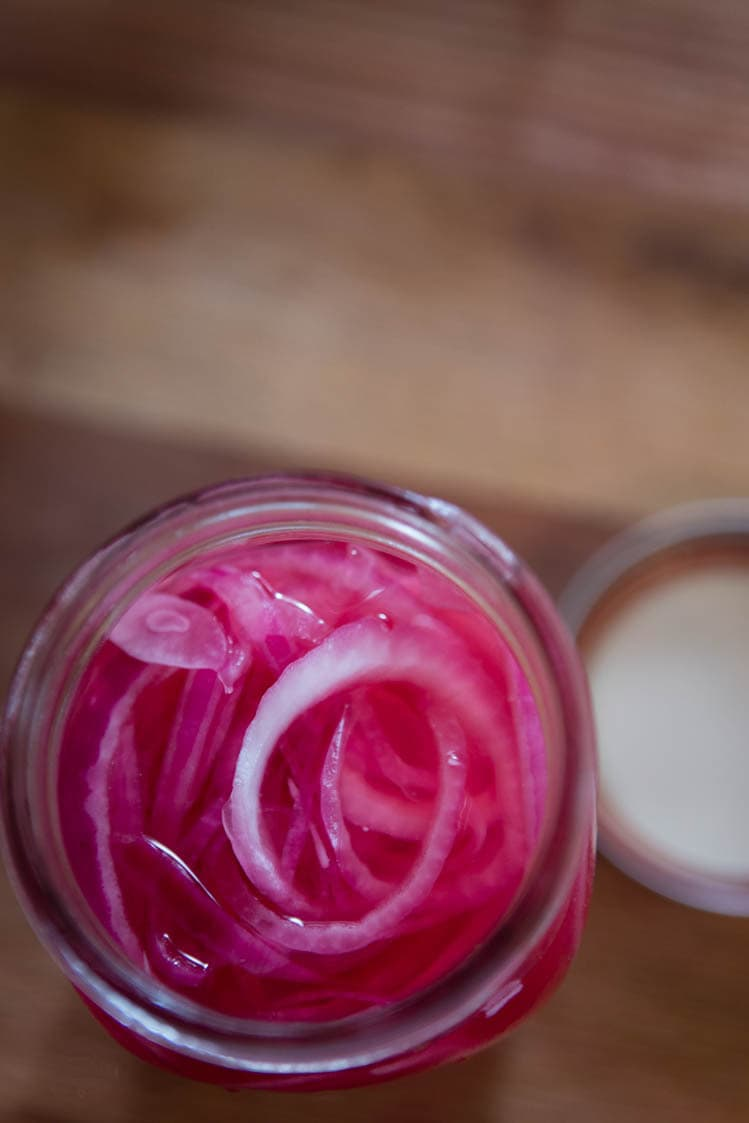 beautiful purple pickled red onions
