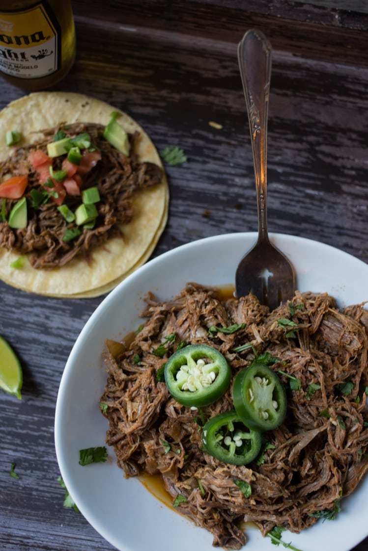 mexican street taco inspired slow cooker shredded beef