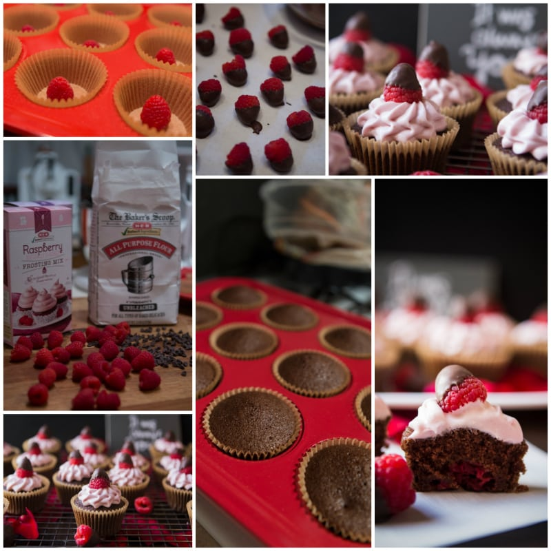 chocolate dipped raspberry cupcakes with dark chocolate raspberries