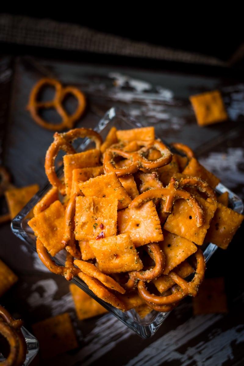 spicy cheezit and pretzel snack