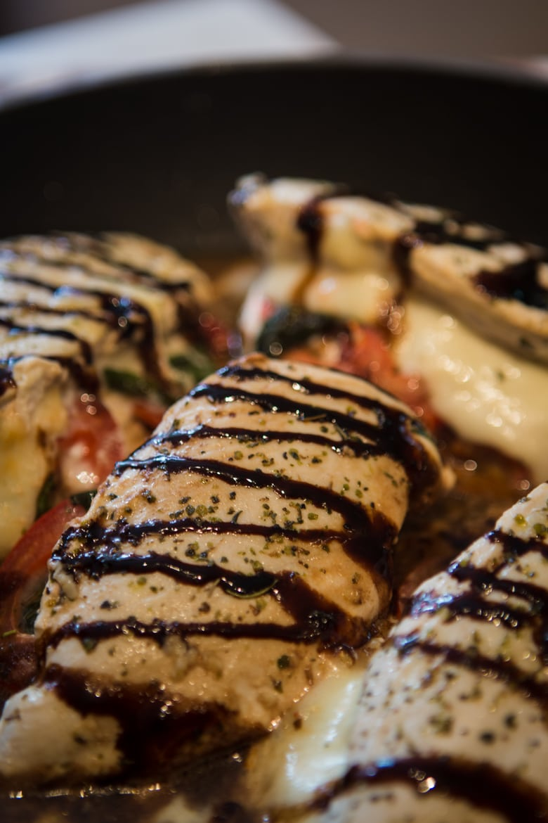 one pan balsamic glazed caprese stuffed chicken