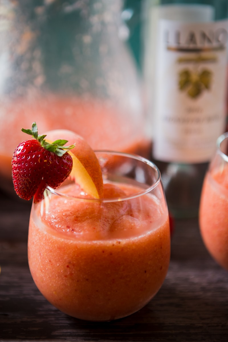 rosè wine slushies with strawberries and peaches