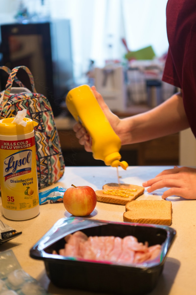 Lysol helps with mustard messes