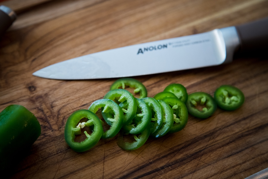 freshly sliced jalapenos