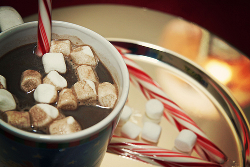 hot chocolate and candy canes