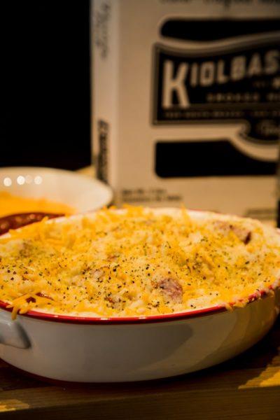 cheesy kiolbassa cauliflower mash