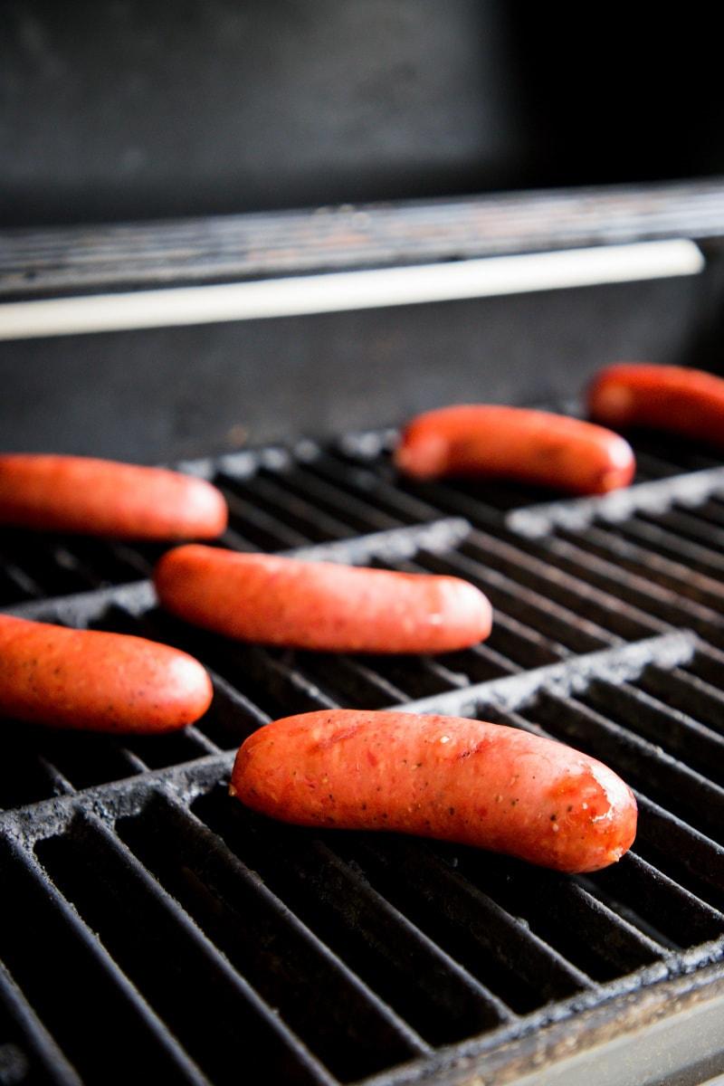Kiolbassa Mesquite Smoked Sausage on the grill