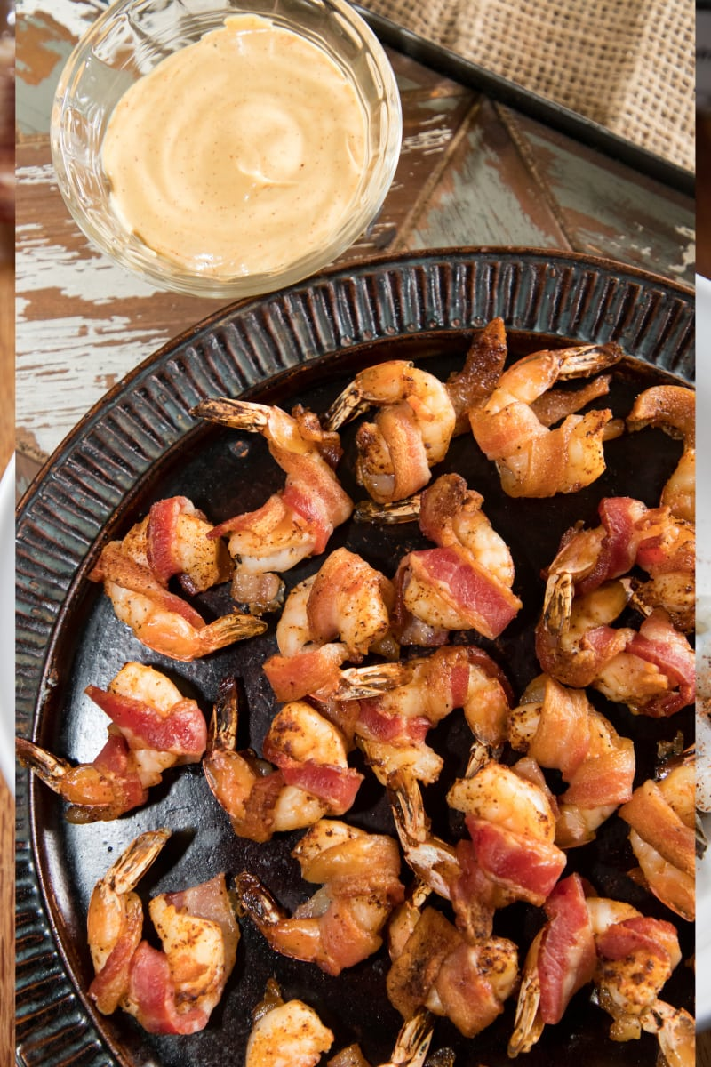 Bacon Wrapped Shrimp with a Savory Remoulade Sauce
