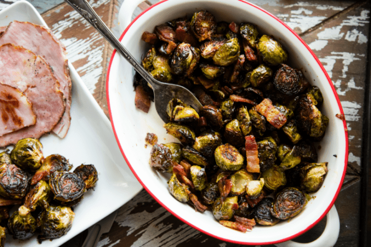 One Pan Sweet and Spicy Brussels Sprouts with Bacon